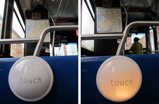 paperJAM touchlight on a bus